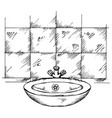 doodle washbasin and tiles vector image vector image