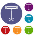 electric heater icons set vector image vector image