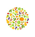 farm fresh colorful vegetables in circular shape vector image vector image
