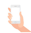 female hand holding phone with blank screen vector image vector image