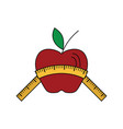 flat design icon of apple with measure tape vector image
