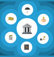 flat icon finance set of money box bank parasol vector image vector image