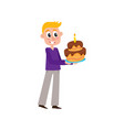 Flat man holding big birthday cake