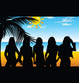 girl five on beach for background vector image vector image