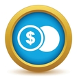 Gold dollar coin icon vector image vector image