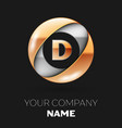 golden letter d logo in the silver-golden circle vector image