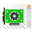 gpu card flat icon with bonus vector image vector image