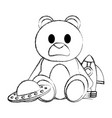 grunge teddy bear with rocket and ufo toys vector image vector image