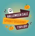 halloween sale banner with pumpkins vector image