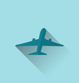 icon of aircraft with long shadow modern flat vector image vector image