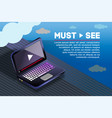 isometric laptop video watching template vector image vector image