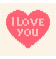 knitted heart on white background vector image vector image