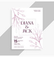 leaves decorative wedding flyer template design vector image vector image