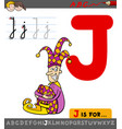 letter j with cartoon jester character vector image vector image