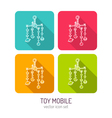 line art baby crib mobile icon set in four color vector image