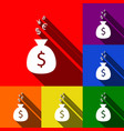 money bag sign with currency symbols set vector image vector image
