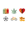 netherlands travel icons set popular attractions vector image