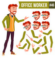 office worker red head face emotions vector image