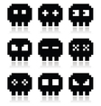 Pixelated 8bit skull icons set vector image vector image