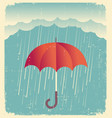 rain clouds with red umbrellavintage poster on vector image