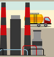 refinery or chemical plant and truck oil industry vector image vector image