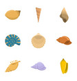 seashell icons set cartoon style vector image vector image