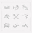 set of pastry icons line style symbols with double vector image vector image