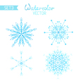 Set os watercolour snowflakes vector image