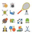 set sport icons in flat design line vector image