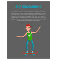 skateboarding poster with skateboarder text vector image vector image