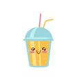 smoothie to go cup cute kawaii food cartoon vector image vector image