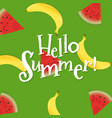 summer poster with banana and watermelon vector image vector image