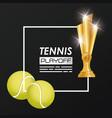 tennis sport balls and trophy vector image vector image
