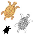 Turtle the outline of the turtle stencil vector image vector image