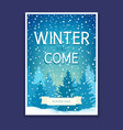 winter poster with spruces vector image vector image