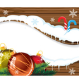 Wooden billboard with Christmas baubles vector image vector image