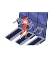 young smiling woman running on treadmill at vector image vector image