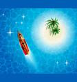 tanned girl swimming near an uninhabited island vector image