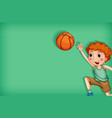 background template design with boy playing vector image vector image
