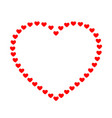 big heart from little red hearts on a contour vector image