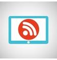blue tablet cartoon wifi technology design vector image vector image