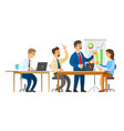 boss with workers seminar presentation whiteboard vector image vector image