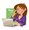 Brown-haired woman with phone and laptop vector image