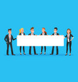 business people holding banner man and woman vector image