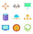 business technologies icons set cartoon style vector image vector image