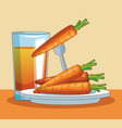 carrots and juice vector image vector image