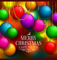 Christmas background with colorful balls vector image