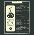 coffee menu with cup of coffee and price list vector image