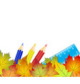 concept back to school colorful autumn leaves vector image vector image