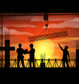 construction worker silhouette at sunset vector image vector image